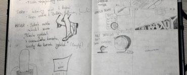 Vľavo suché poznámky a nohy | Vpravo ilustrovaný komentár k novej divadelnej terminológii