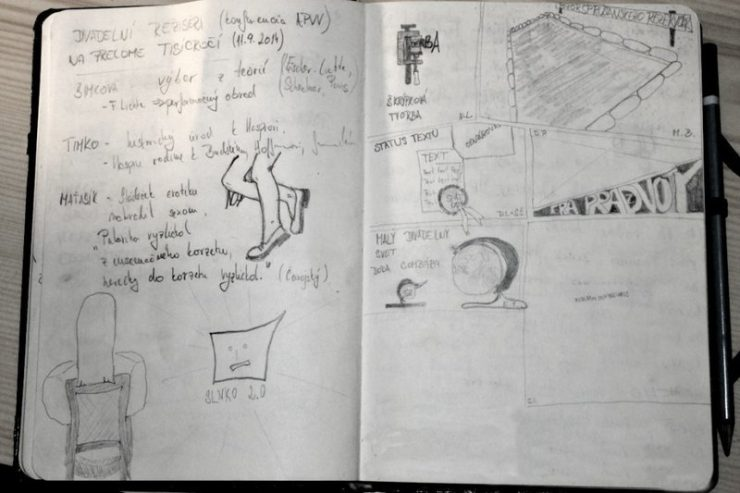 Vľavo suché poznámky a nohy   Vpravo ilustrovaný komentár k novej divadelnej terminológii